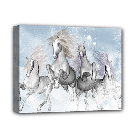 Awesome Running Horses In The Snow Deluxe Canvas 14  X 11  by FantasyWorld7