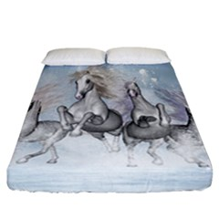 Awesome Running Horses In The Snow Fitted Sheet (california King Size) by FantasyWorld7