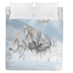 Awesome Running Horses In The Snow Duvet Cover Double Side (queen Size) by FantasyWorld7