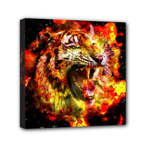 Fire Tiger Mini Canvas 6  X 6  by stockimagefolio1