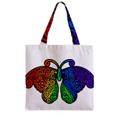 Rainbow Butterfly  Zipper Grocery Tote Bag