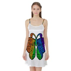 Rainbow Butterfly  Satin Night Slip
