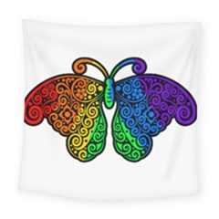 Rainbow Butterfly  Square Tapestry (large)
