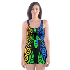 Rainbow Butterfly  Skater Dress Swimsuit by Valentinaart