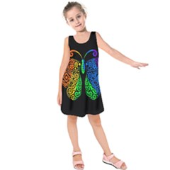 Rainbow Butterfly  Kids  Sleeveless Dress
