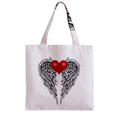 Angel Heart Tattoo Zipper Grocery Tote Bag