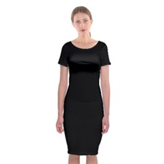 Black Classic Short Sleeve Midi Dress by digitaldivadesigns