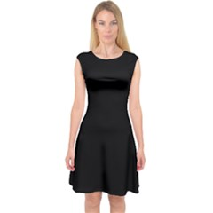 Black Capsleeve Midi Dress by digitaldivadesigns