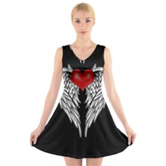 Angel Heart Tattoo V Neck Sleeveless Skater Dress