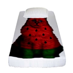 Watermelon Cat Fitted Sheet (single Size) by Valentinaart