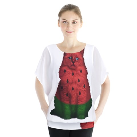 Watermelon Cat Blouse by Valentinaart