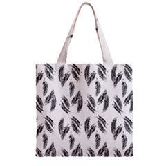 Feather Pattern Zipper Grocery Tote Bag