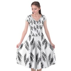 Feather Pattern Cap Sleeve Wrap Front Dress
