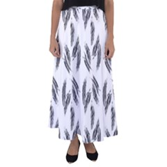 Feather Pattern Flared Maxi Skirt