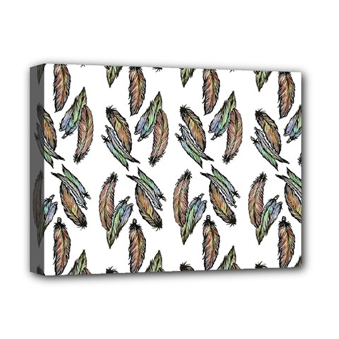 Feather Pattern Deluxe Canvas 16  X 12   by Valentinaart