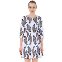Feather Pattern Smock Dress