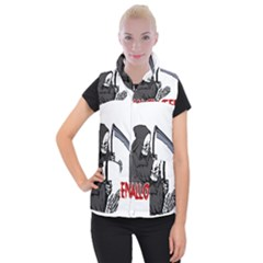Death   Halloween Women s Button Up Puffer Vest by Valentinaart