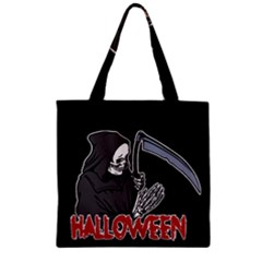 Death   Halloween Zipper Grocery Tote Bag