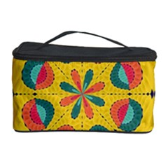 Textured Tropical Mandala Cosmetic Storage Case by linceazul