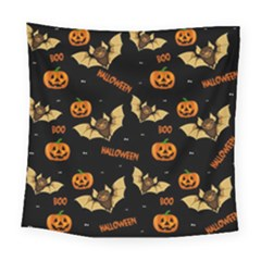 Bat, Pumpkin And Spider Pattern Square Tapestry (large)