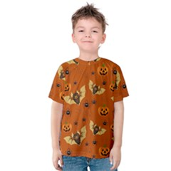 Bat, Pumpkin And Spider Pattern Kids  Cotton Tee