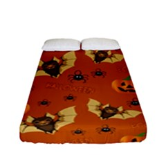Bat, Pumpkin And Spider Pattern Fitted Sheet (full/ Double Size) by Valentinaart