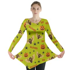 Bat, Pumpkin And Spider Pattern Long Sleeve Tunic