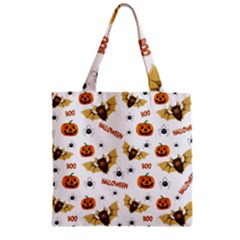 Bat, Pumpkin And Spider Pattern Zipper Grocery Tote Bag by Valentinaart