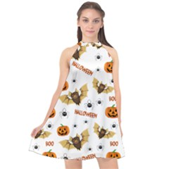 Bat, Pumpkin And Spider Pattern Halter Neckline Chiffon Dress