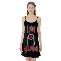 I Just Love Halloween Satin Night Slip by Valentinaart