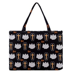 Ghost And Chest Halloween Pattern Zipper Medium Tote Bag by Valentinaart