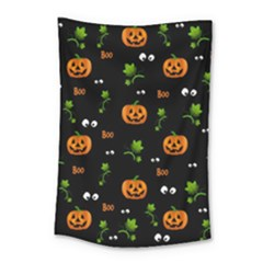 Pumpkins   Halloween Pattern Small Tapestry by Valentinaart