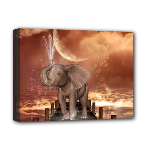 Cute Baby Elephant On A Jetty Deluxe Canvas 16  X 12