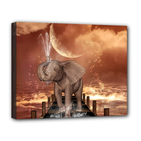 Cute Baby Elephant On A Jetty Deluxe Canvas 20  X 16   by FantasyWorld7