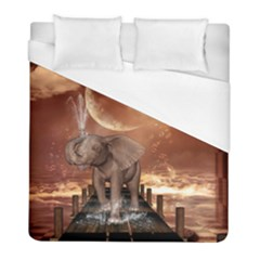 Cute Baby Elephant On A Jetty Duvet Cover (full/ Double Size) by FantasyWorld7