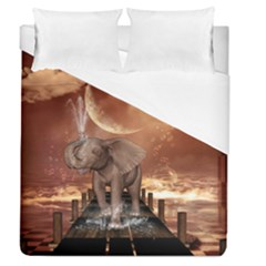 Cute Baby Elephant On A Jetty Duvet Cover (queen Size) by FantasyWorld7