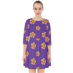 Ditsy Floral Pattern Design Smock Dress