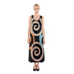 Abroad Spines Circle Sleeveless Maxi Dress by Mariart