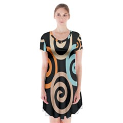 Abroad Spines Circle Short Sleeve V Neck Flare Dress by Mariart