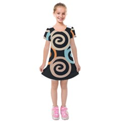 Abroad Spines Circle Kids  Short Sleeve Velvet Dress by Mariart