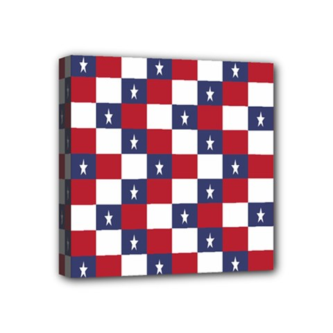 American Flag Star White Red Blue Mini Canvas 4  X 4  by Mariart