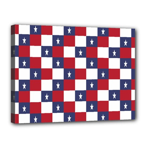 American Flag Star White Red Blue Canvas 16  X 12  by Mariart