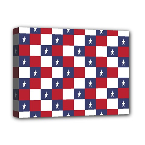 American Flag Star White Red Blue Deluxe Canvas 16  X 12   by Mariart