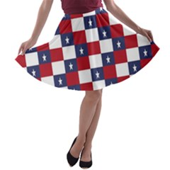 American Flag Star White Red Blue A Line Skater Skirt