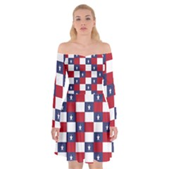 American Flag Star White Red Blue Off Shoulder Skater Dress by Mariart