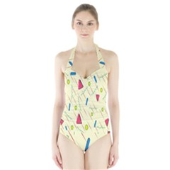 Background  With Lines Triangles Halter Swimsuit by Mariart