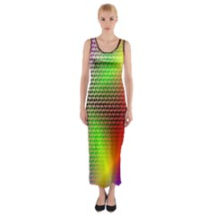 Abstract Rainbow Pattern Colorful Stars Space Fitted Maxi Dress