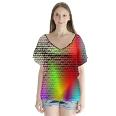 Abstract Rainbow Pattern Colorful Stars Space V Neck Flutter Sleeve Top