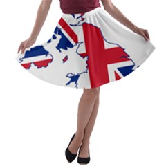 Britain Flag England Nations A-line Skater Skirt by Mariart