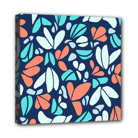 Blue Tossed Flower Floral Mini Canvas 8  X 8  by Mariart